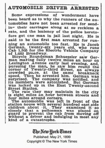 DecaroMotors - The New York Times 1899 First transit arrested news (Blog)